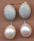 FPE122WO, silver cz oval white fresh water pearl earring