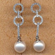 FPE056W9, silver cz 9mm round white  fresh water pearl earring