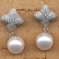 FPE113W10 10mm round white fresh water pearl earring
