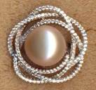 FPR331P, sliver cz pink fresh water pearl ring