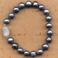 JD054B19BK, 7.5-8mm fresh water pearl bracelet with silver cz clasp