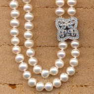 JD135N136W 6.5-7mm fresh water pearl double rows necklace with silver cz clasp