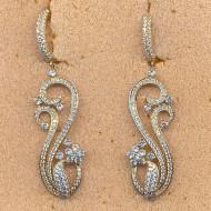 FE046Y, silver cz earring
