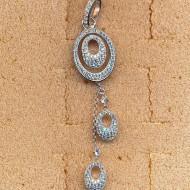 FP116W silver cz pendant
