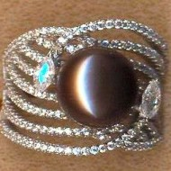 FPR062B silver cz pearl ring