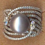 FPR062G silver cz pearl ring