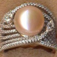 FPR062P silver cz pearl ring