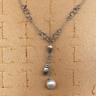 BN95085W 14K Italian necklace with 11.5mm white cultured pearl