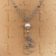 BN95258W 14K Italian necklace with 11.5mm white cultured pearl