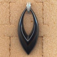 AP140097W 18K black ceramic diamond 0.15ct pendant