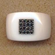 AR140098BLK 18K white ceramic black diamond 0.18ct ring